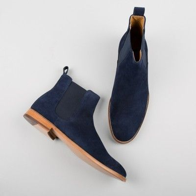 Handmade men navy blue boots, suede leather boot for men