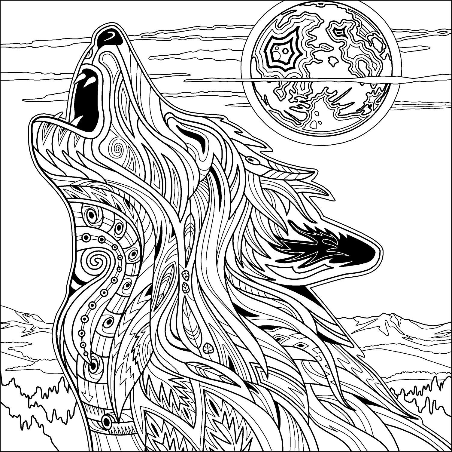 Wolf pages to color - Dave Ember Illustration Yellowstone Park Coloring Book