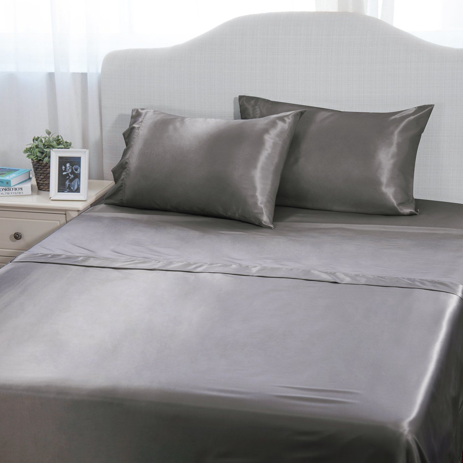 Sheet Set Queen Size Solid Matte Satin Sheets With Deep Pocket Design 4  Piece Grey Silky
