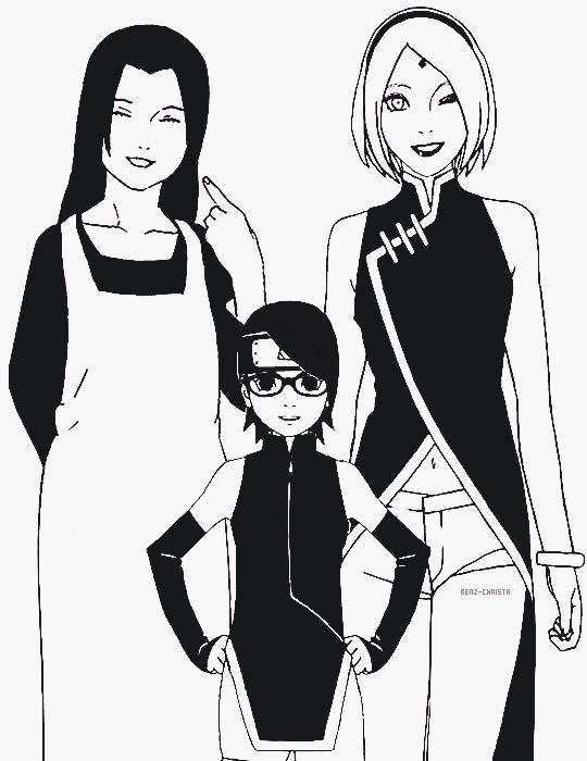 Uchiha girls Sarada-chan and her Mama Sakura and Grandma Mikoto