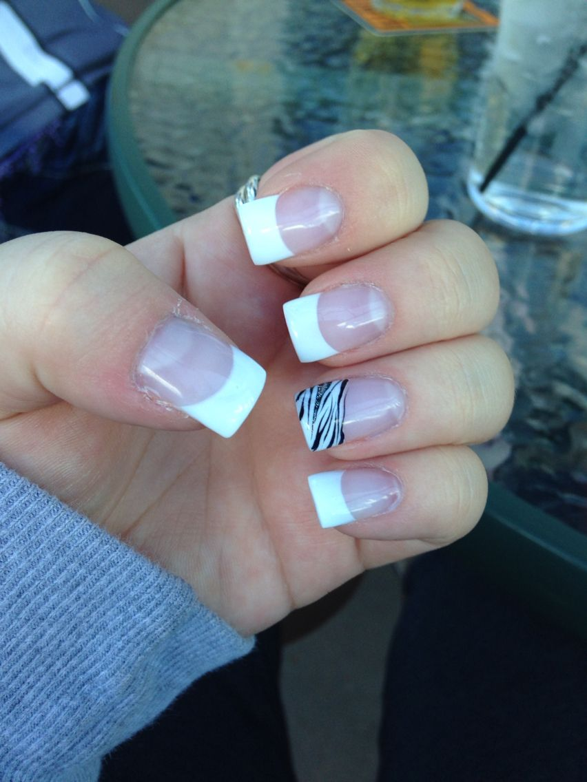French Tip Gel Nails with Zebra accent nail. #frenchtip #french ...