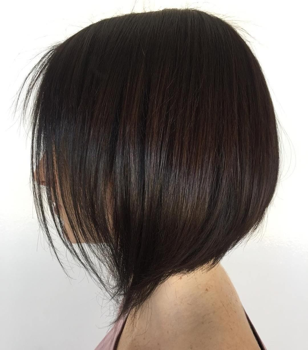 Stacked Brunette Bob For Fine Hair Haircuts For Fine Hair
