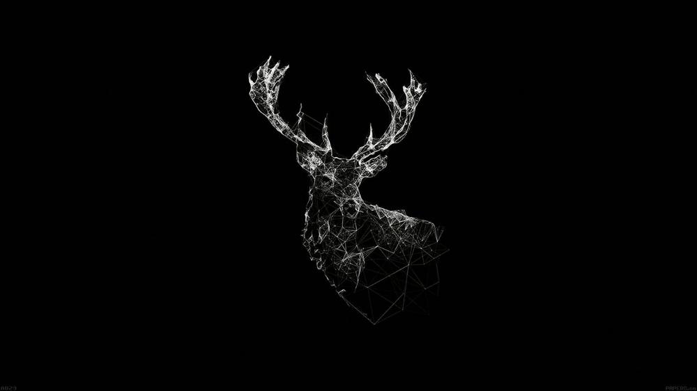 Ad29 Deer Animal Illust Dark Desktop Wallpaper Black Computer Wallpaper Desktop Wallpapers Laptop Wallpaper Desktop Wallpapers