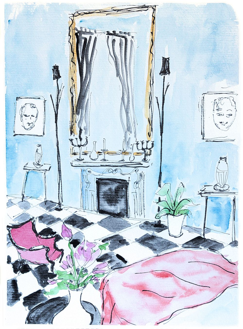 Ink Pen Drawing Watercolour Painting A Lovely Room Flowers Pink Living