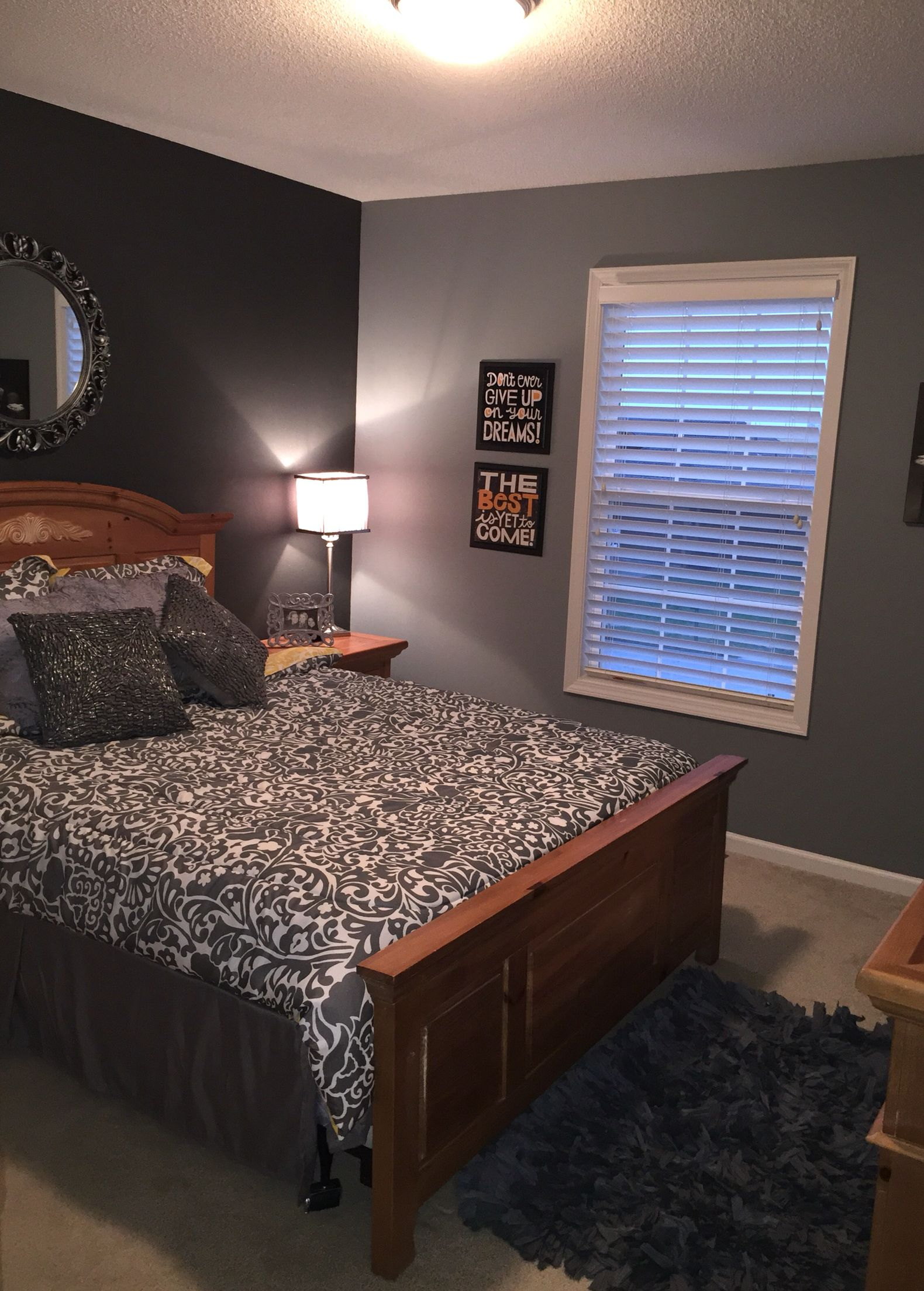 Dark Grey Bedroom Walls Dark Gray With Valspar Paint Crystals Accent Wall With