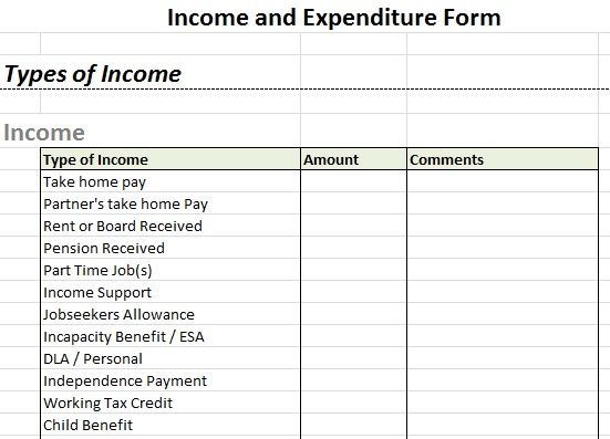 Example Income And Expenditure Form  Debt Help