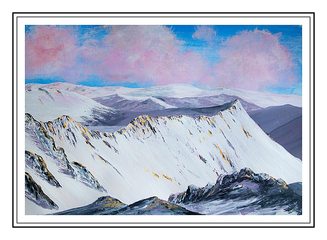 Painting Of Striding Edge In Winter Helvellyn The Lake District Lake District Landscape Artist Painting