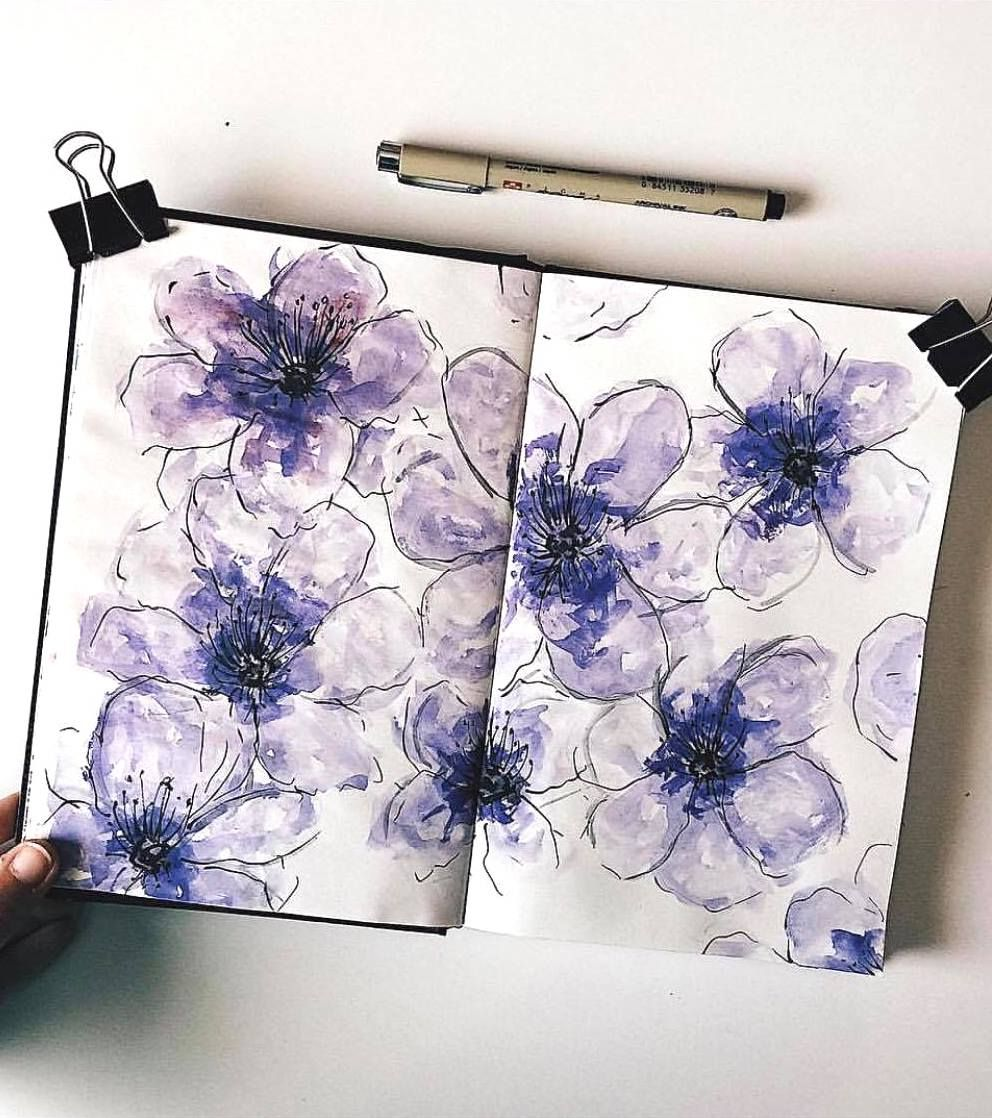 Beautiful Watercolor Violets By Ig Laia Journal Bullet Journal