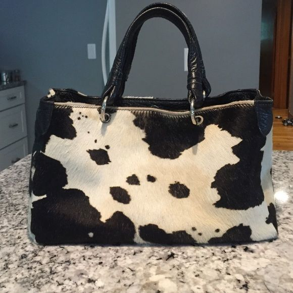 Cecconi Piero Calf Hair Handbag Genuine Leather Made In Italy Black