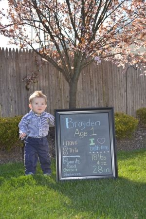 1st birthday photo shoot, stats chalkboard by wilma