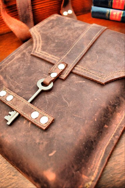 Leather Messenger Bag with Skeleton Key Antique Hardware