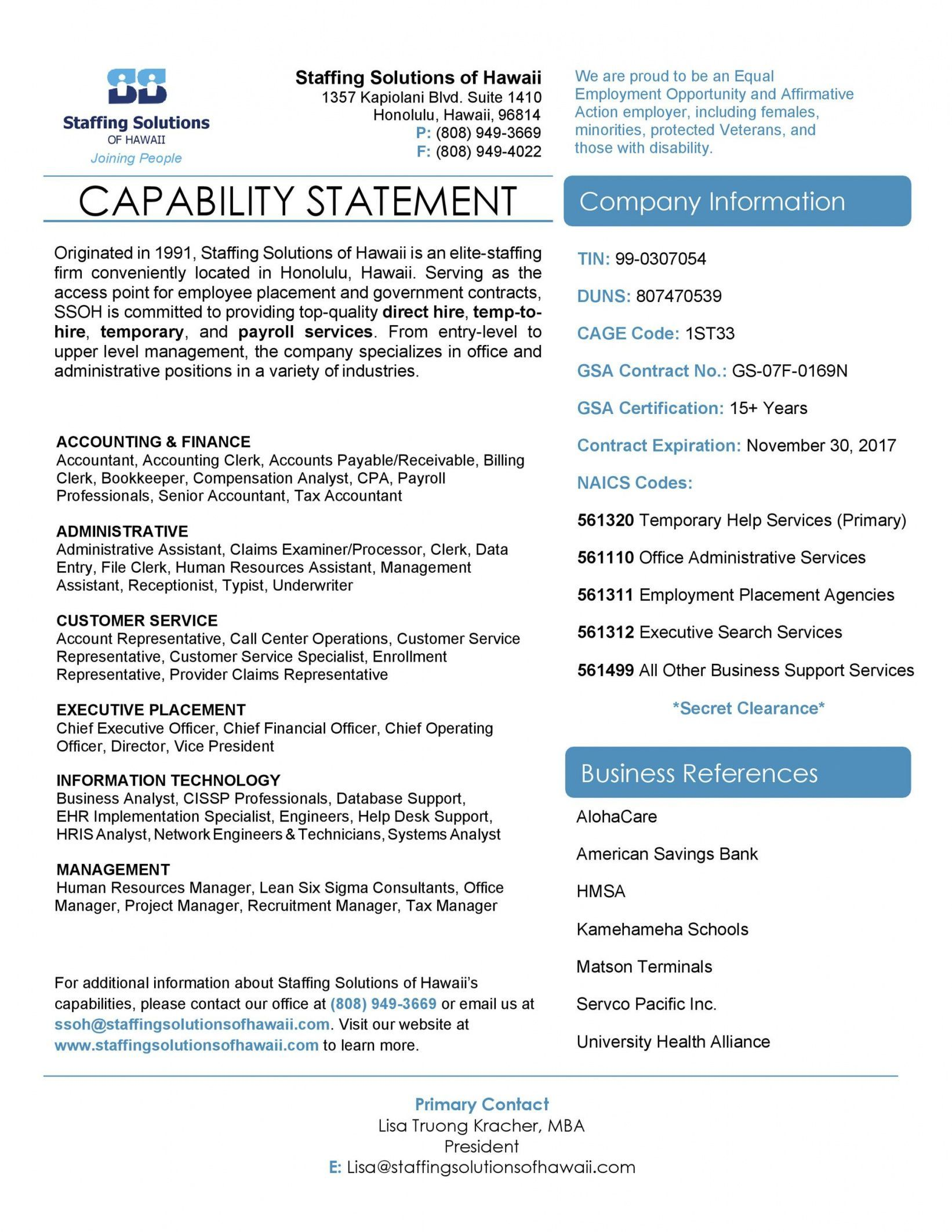 Get our sample of capability statement template