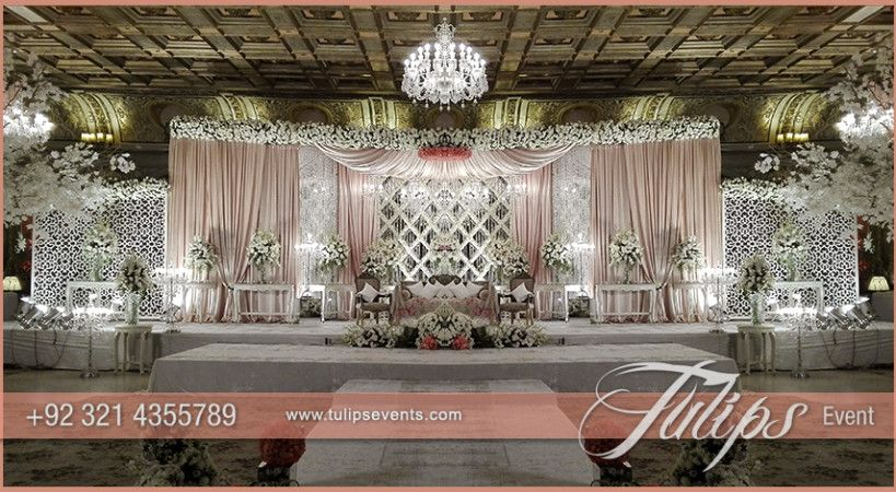 Pink white pakistani wedding stage setup ideas by tulips events find the best yellow drape mehndi stage decoration setup design by tulips events management in lahore junglespirit Gallery