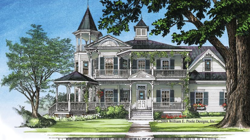 Queen Anne Victorian Homes With Turrets Queen Anne Home Plans Queen Anne Style Home Designs Victorian House Plans House Plans Farmhouse Family House Plans