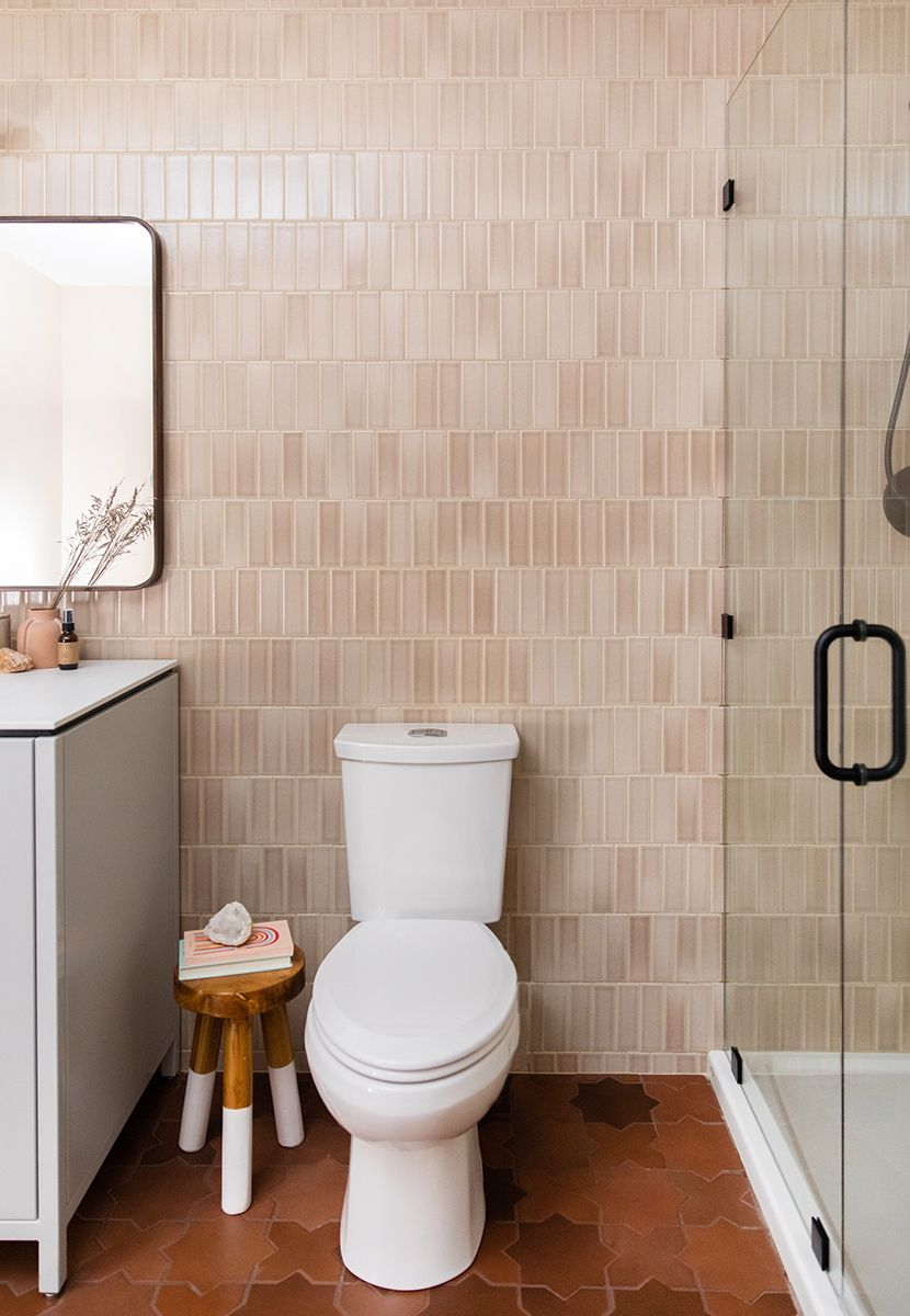 Building Home Our Basement Bathroom Oasis Is Also Full Of Utility For Our Guests And Life See How We Created Basement Bathroom Affordable Tile Bathroom Oasis