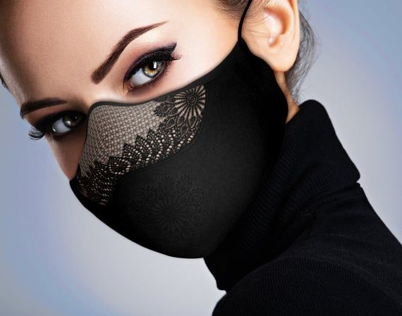Designer Face Mask - Printed - Lace Mask - Filtere