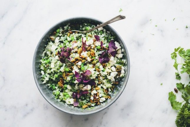 Warm Cauliflower Couscous Salad with Green Peas and Herbs.