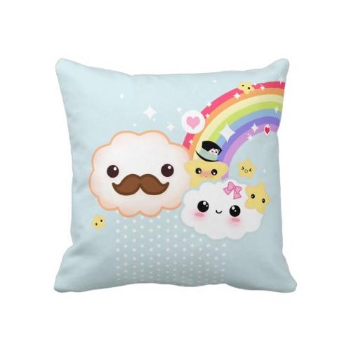 Kawaii clouds stars and rainbow cushion case - ChibiBunny