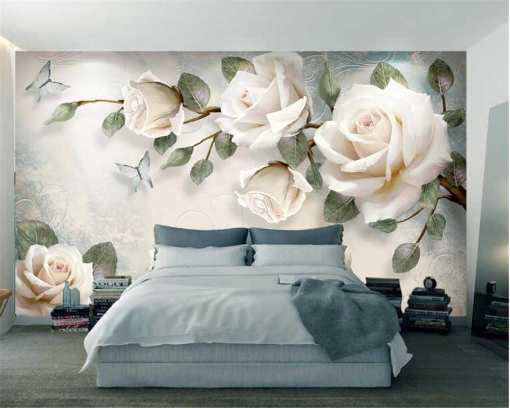Beibehang Custom wallpaper mural modern hand painted flowers European style TV backgrounds wall living room bedroom 3d wallpaper