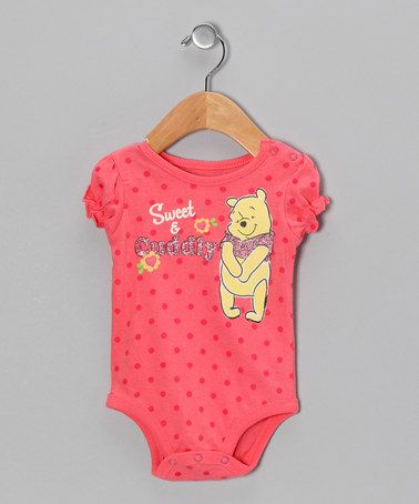Take a look at this Coral Polka Dot Sweet & Cuddly Bodysuit - Infant by Winnie the Pooh on #zulily today!