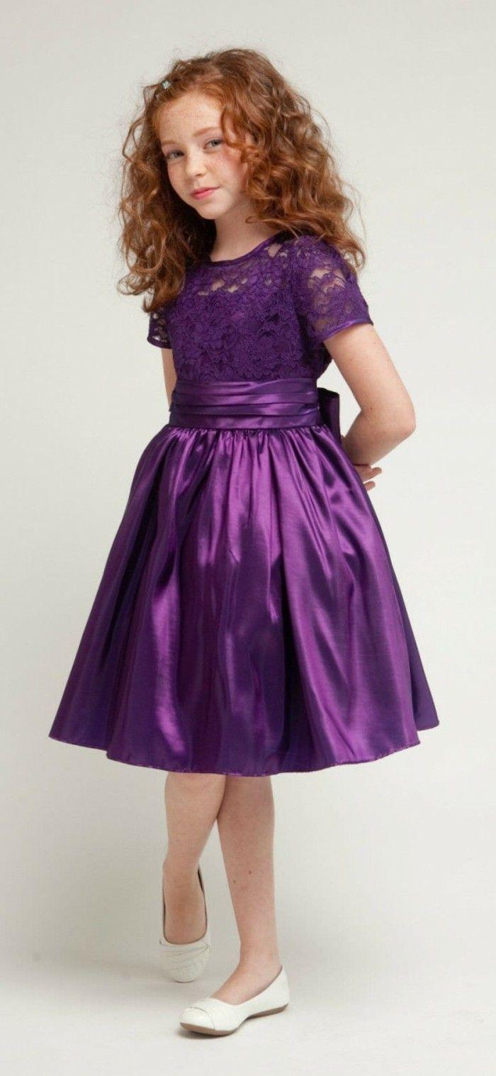 8433784e5a229 tenue de mariage enfant Beau cortege en lila avec une large ceinture au  noeud derriere