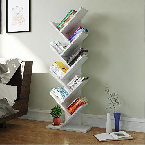 Tribesigns Tree Shaped Bookcase Book Shelf Modern Stylish Kids Children  Bookshelf Shelving Display Storage Rack For CD Book Home Office Decor  (White)