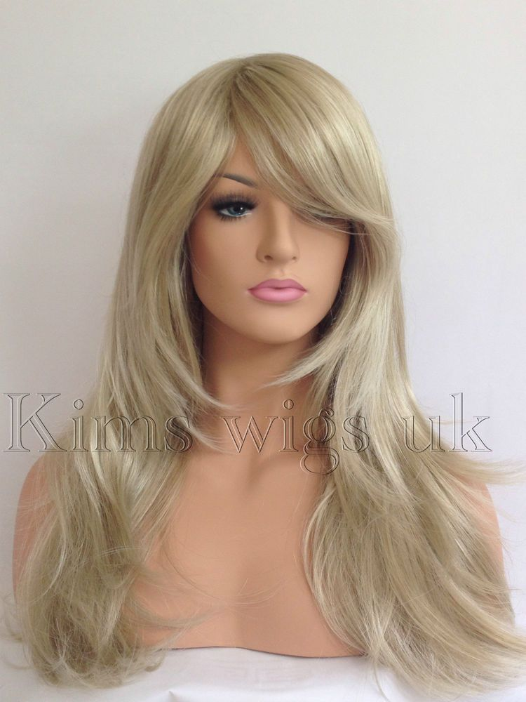 FULL LONG WOMENS LADIES FASHION HAIR WIG TWO TONE BLONDE MIX HEAT RESIST  KWO5 UK b6c76b9be4