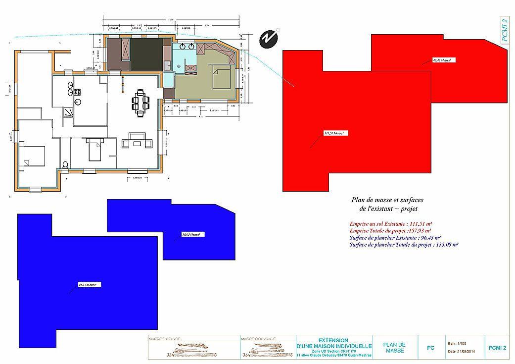 exemple et plan pour faire un permis de construire de moins de 170