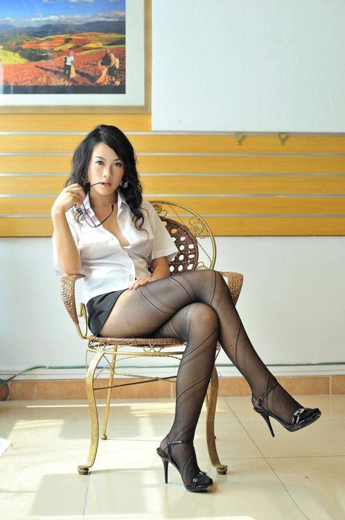 pantyhose Asian woman