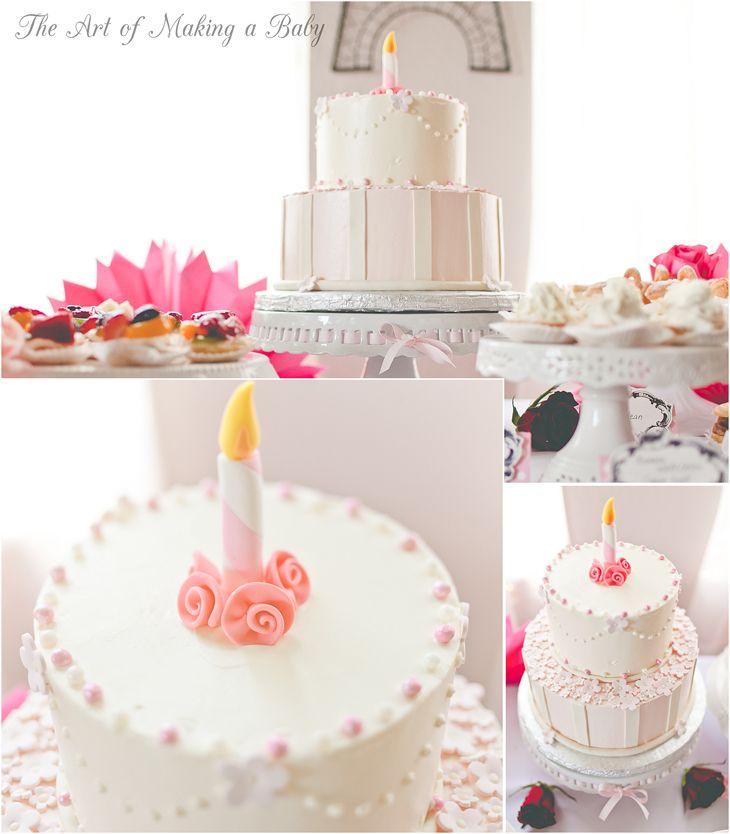 1st birthday cake for a Pink White vintageshabbychic Roses