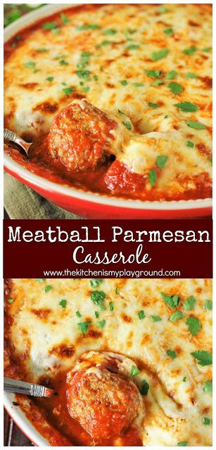 Meatball Parmesan Casserole ~ Bake up just five simple ingredients to enjoy this cheesy, saucy goodness!  Spoon over noodles or warm garlic bread for one super easy & satisfying meal.