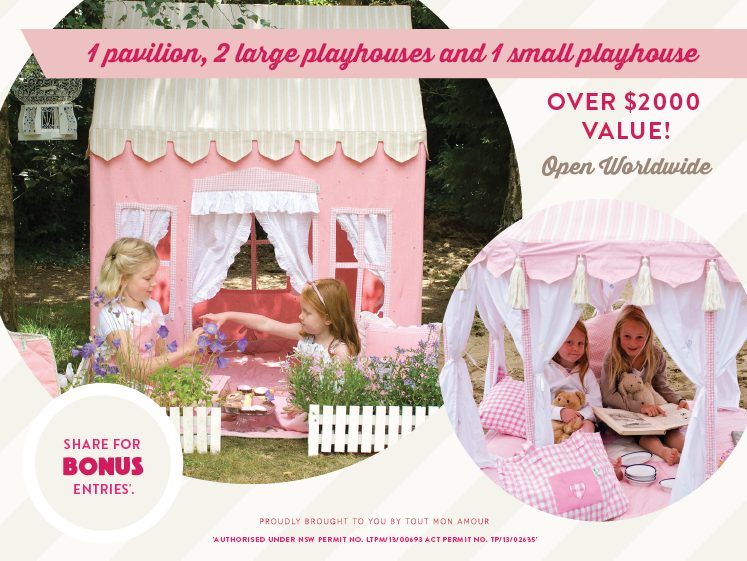 Pin it to win a Pavilion or Playhouse of your choice for girls and boys! We have 4 to win! Confirm your pin via the blog link below.
