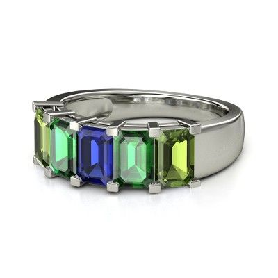 Kinda interesting idea. Emerald-Cut Sapphire Platinum Ring with Emerald