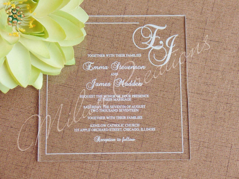 Acrylic Wedding Invitations in Clear Engraved Plexiglass