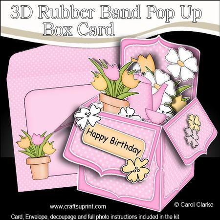 3d Coffee Break Rubber Band Pop Up Box Card On Craftsuprint Designed By Carol Clarke All New Template 6 Sheet Pop Up Box Cards Card Box Box Cards Tutorial