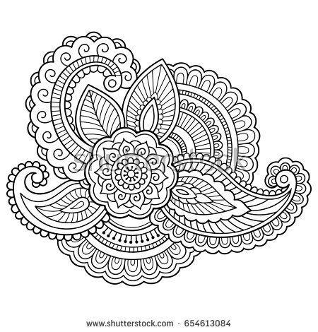 Henna tattoo flower template. Mehndi style. Set of ornamental ...