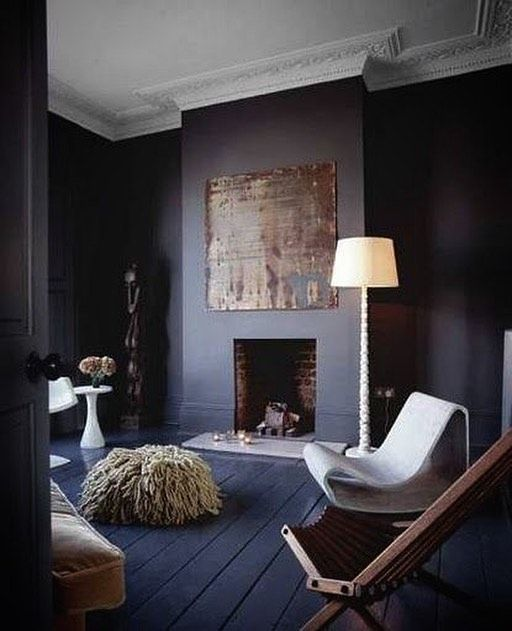 The Blue Room Matte Bluefloor Mattefinish Dark Living Rooms Room Inspiration Dark Interiors