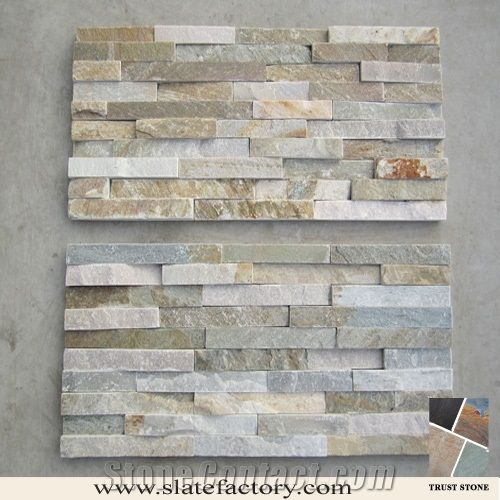 Exceptional Stacked Stone Veneer, Gold Yellow Quartzite Stacked Stone   Trust Stone  Factory