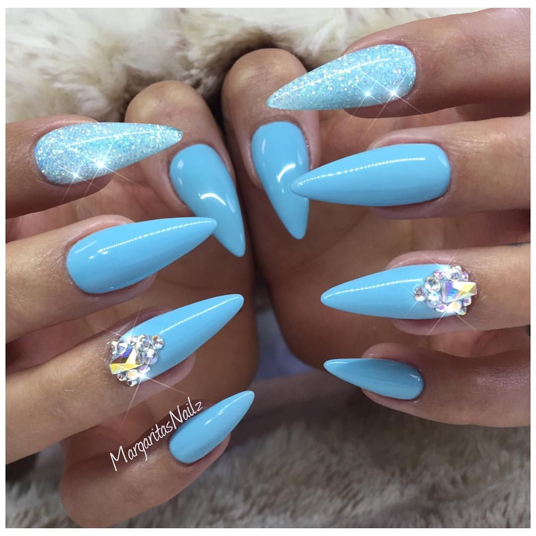 Baby Blue Almond Nails Spring Colors Glitter Nail Art