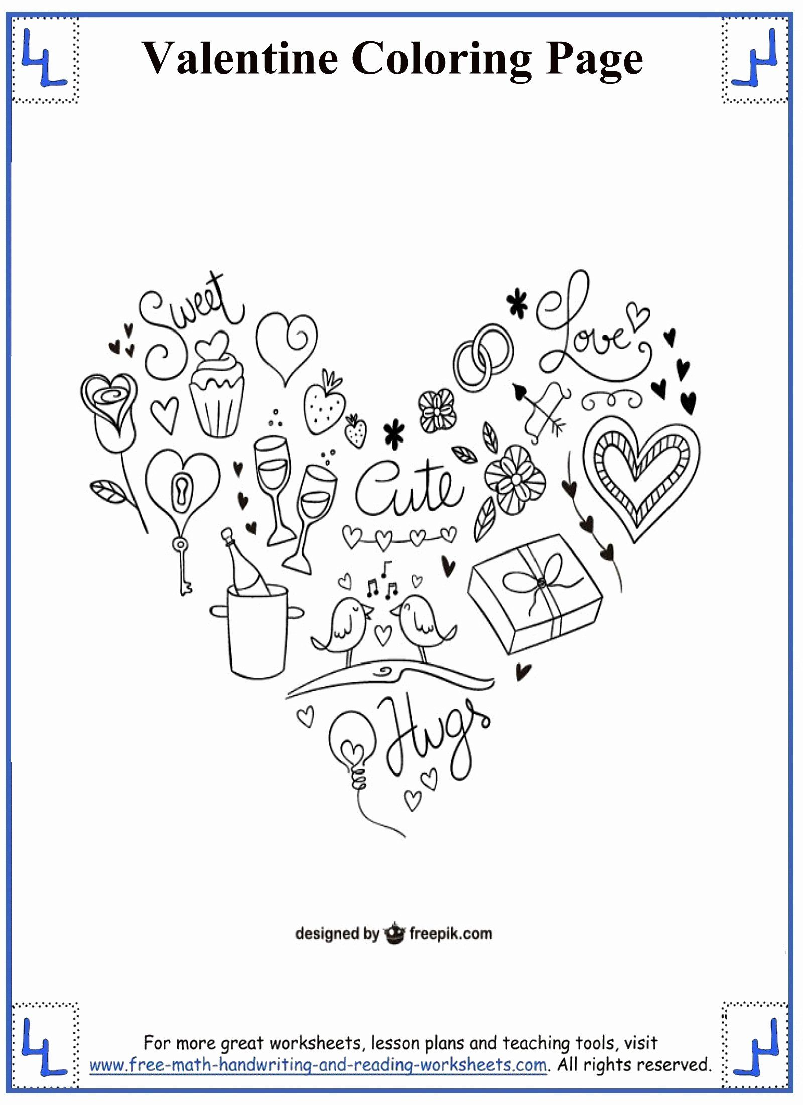 Valentine Coloring Sheets For Kindergarten In