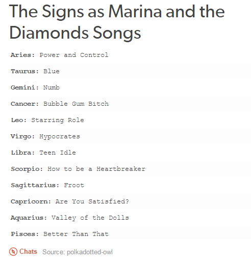 the signs as marina and the diamonds songs marina and