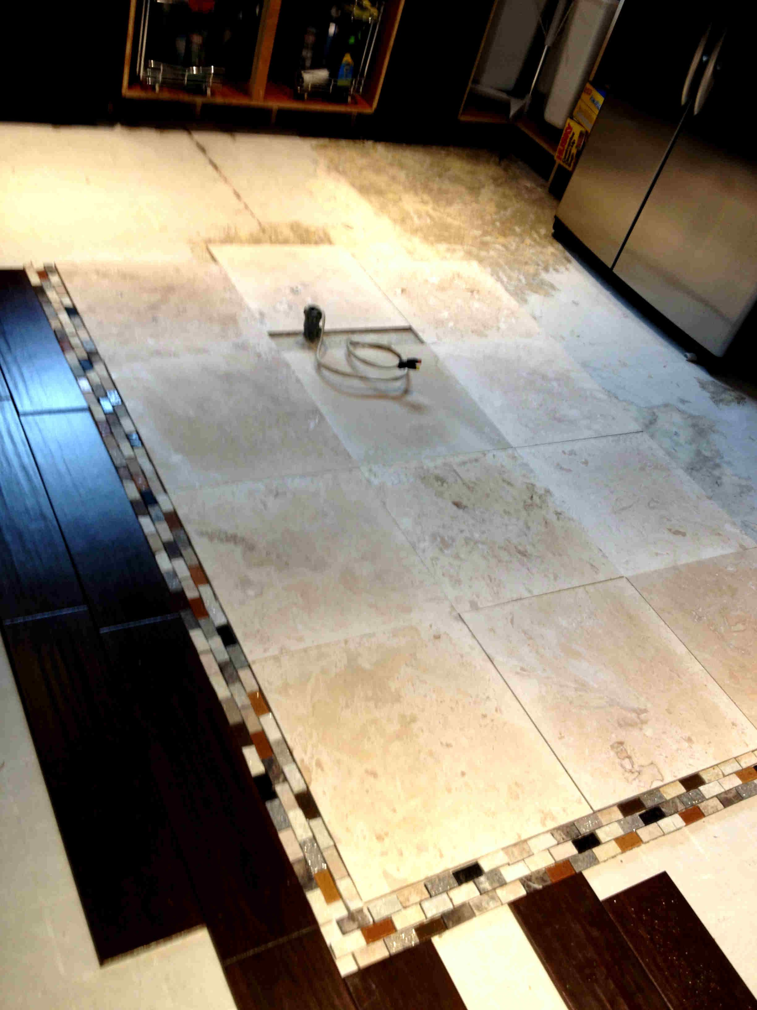 A Large Center Island Made The Kitchen A Race Track Cause Only One Person Could Be On Any Side Of It It Was Removed Floor Installation Flooring Wood Worker