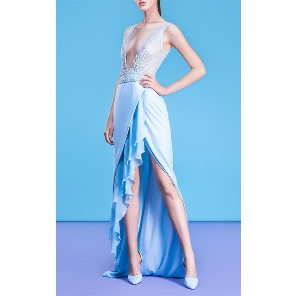 Georges Hobeika Plunging V-Neck Gown (60,325 MXN) ❤ liked on Polyvore featuring dresses, gowns, plunge gown, draped evening gown, plunge drape dress, blue dresses and v-neck dresses