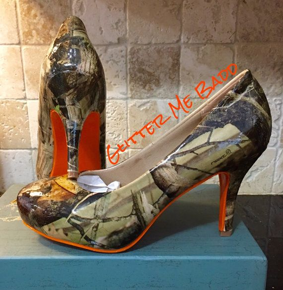Real Tree Camo Heels With Orange Bottom Camo Heels Camo High Heels Camo Shoes
