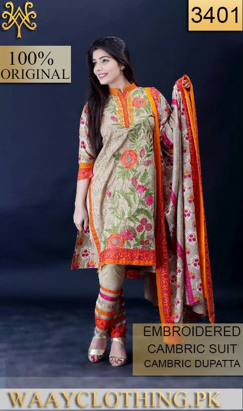Wyfs 3401 Front Embroidery Designer 3pc Cambric Suit With Cambric