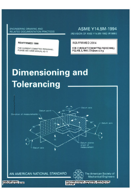 Dimensioning and Tolerancing ASME Y14 5M-1994 | Mechanical