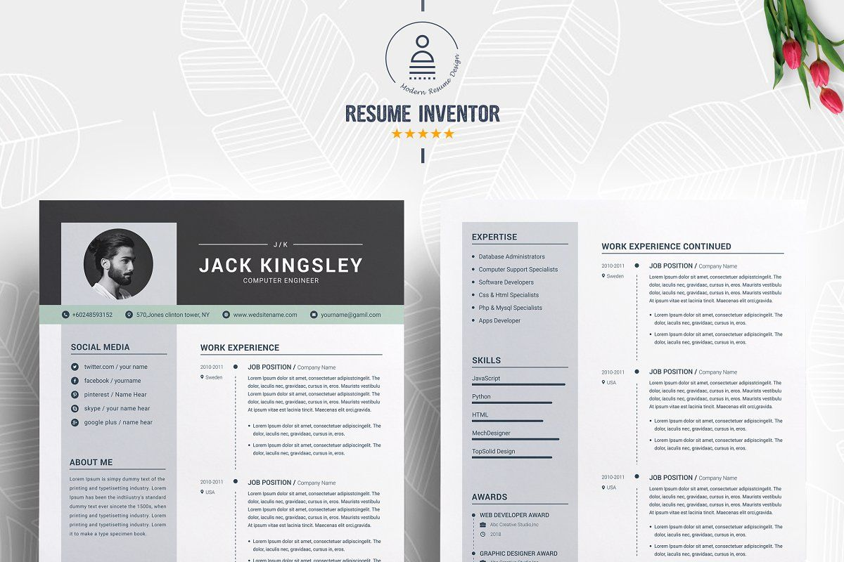 Ad Word Resume with Cover Letter by ResumeInventor on