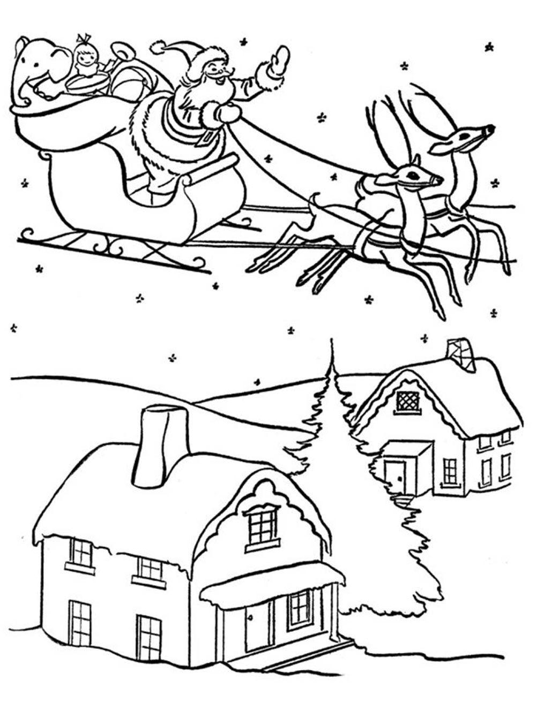 Trenó do Papai Noel para Colorir » Imagem Legal | Natal | Pinterest