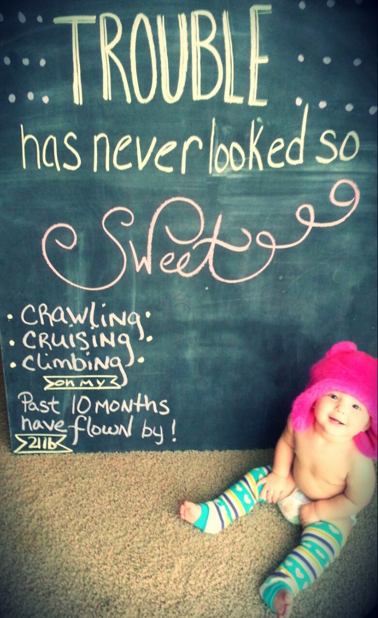 10 Month Old Baby Chalkboard So Doing This For Grace Love This Idea Baby Bump Pictures Baby Milestones Pictures Baby Girl Quotes
