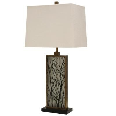 Stylecraft 35 In Brown Table Lamp With White Hardback Fabric Shade Kl313327ds The Home Depot In 2021 Brown Table Lamps Lamp Fabric Shades